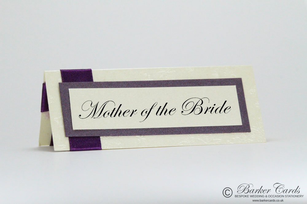 Wedding Place Cards Dark Cadbury Purple and Cream / Ivory Embossed with Butterflies