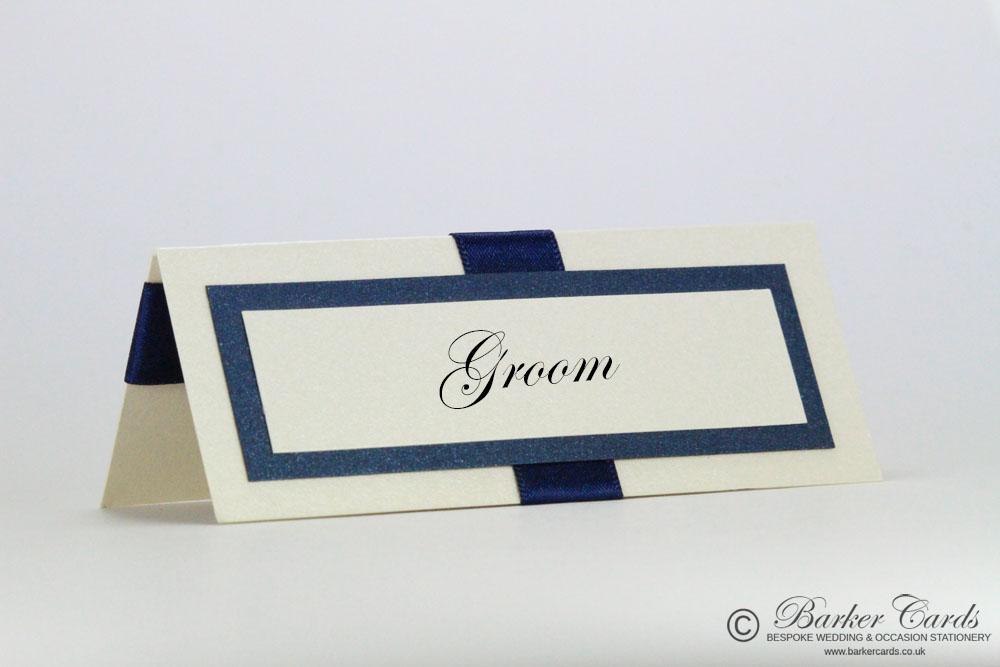 Wedding Place Cards Dark Navy Blue and Cream / Ivory