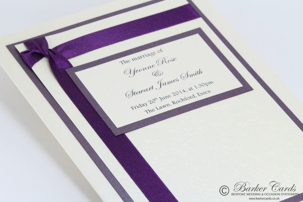 Wedding Orders of Service. Wish Collection Dark Cadbury Purple and ...