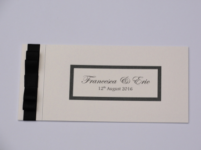 Free wedding Cheque Book Invitation sample made in black and white.