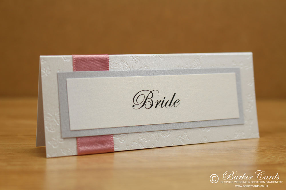 Wedding Place Cards Dusky Pink, Silver and White