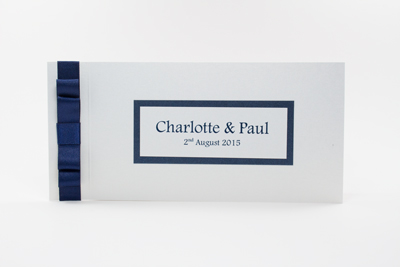 Cheque Book Design Wedding Invitations Navy