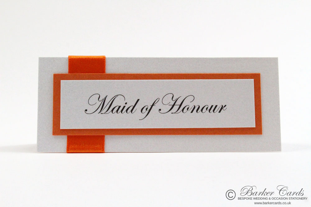 Wedding Table Place Cards - Burnt Zesty Orange and White.