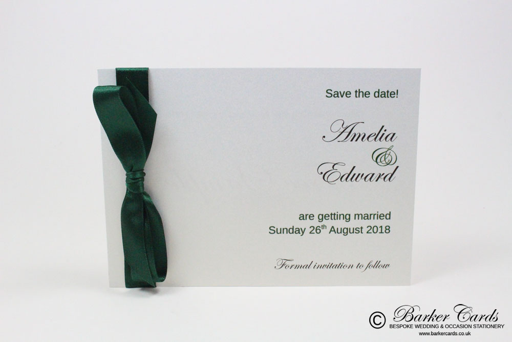 Wedding Save the Date Card - Dark Forest Green and White