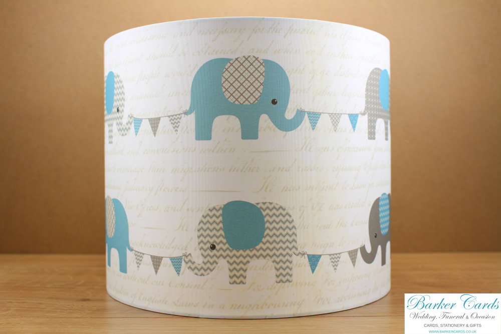 Teal / Vintage Blue Elephant Lampshade