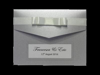 Silver pocketfold wedding invitation free samples