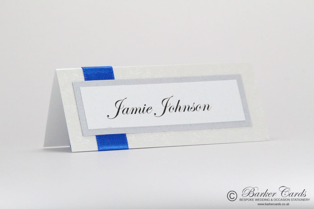 Wedding Place Cards Royal Blue and White Embossed with Butterflies
