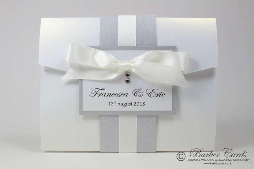 Neutral With Silver Band White Ribbon And Swarovski Crystals