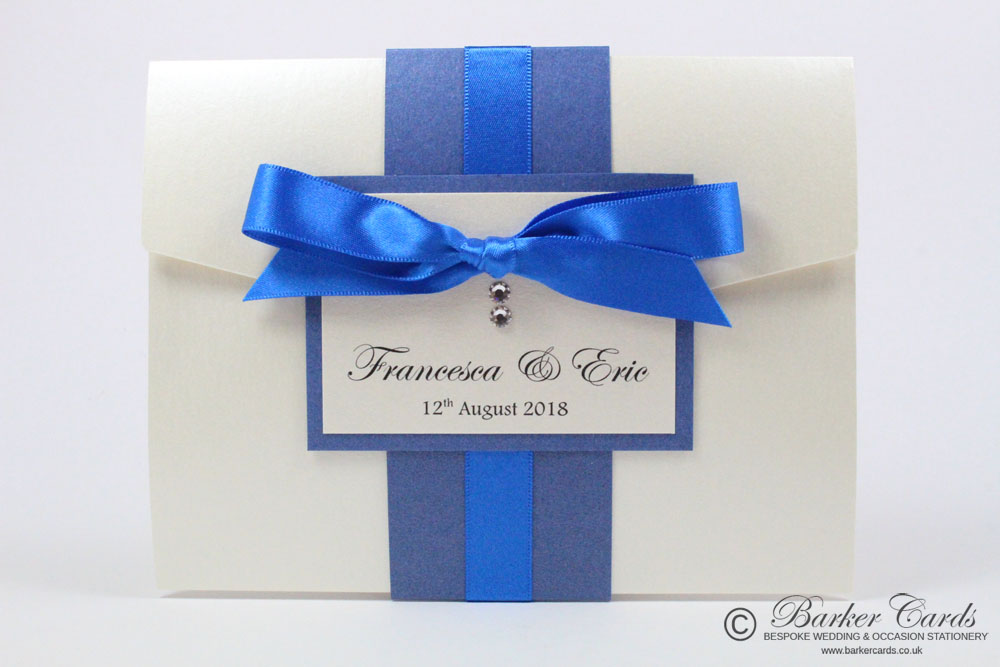 Blue Pocketfold Wedding Invites