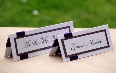 Wedding Place Cards Dark Cadbury Purple And White