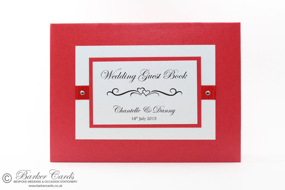 Wedding Guest Book Bright Red and White (available in all colours)