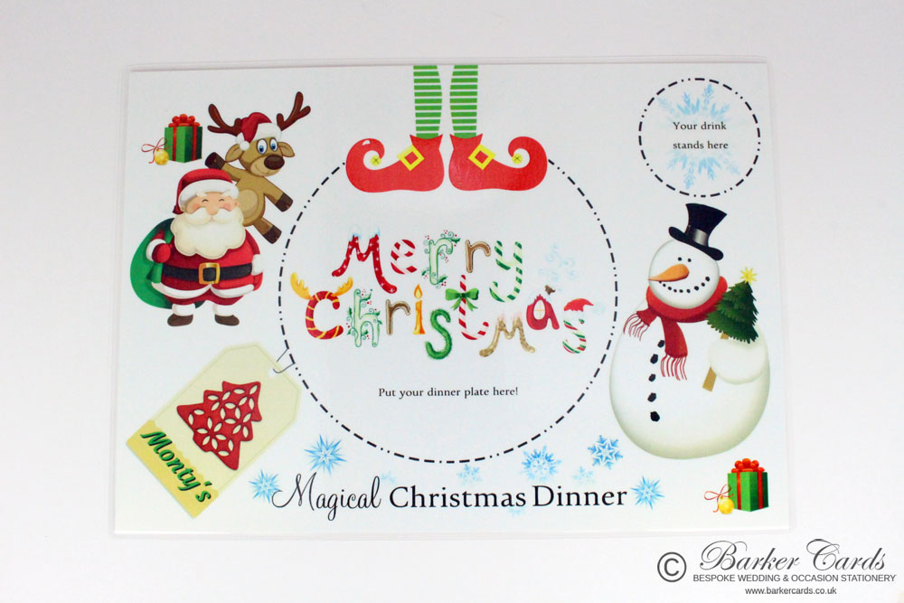 Personalised Christmas Eve / Christmas Day Placemats (double-sided).