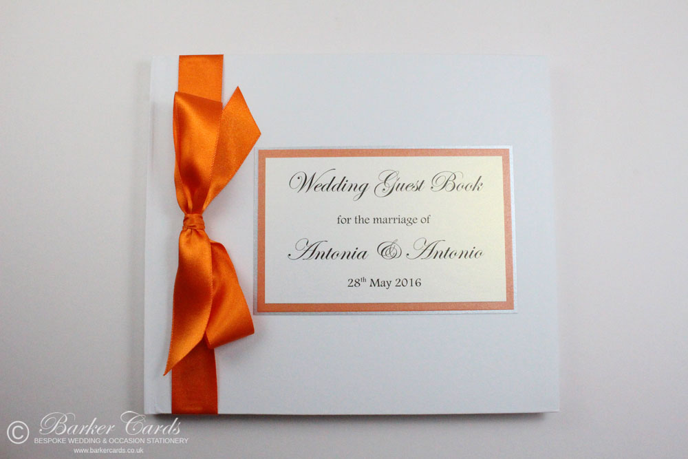 Wedding Guest Book Bright Orange and Silver (available in all colours)