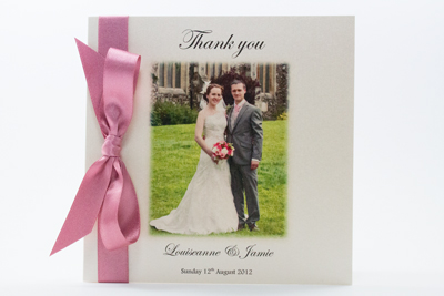 Photo Wedding Thank You Card Simple elegance with tied ribbon