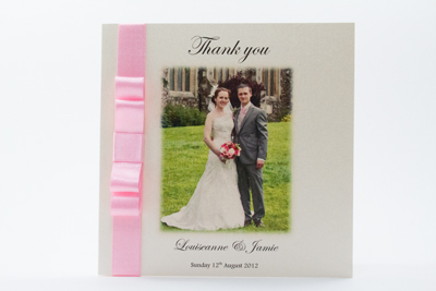 Photo Wedding Thank You Card Simple elegance with a flat bowfeaturing your favourite wedding photograph