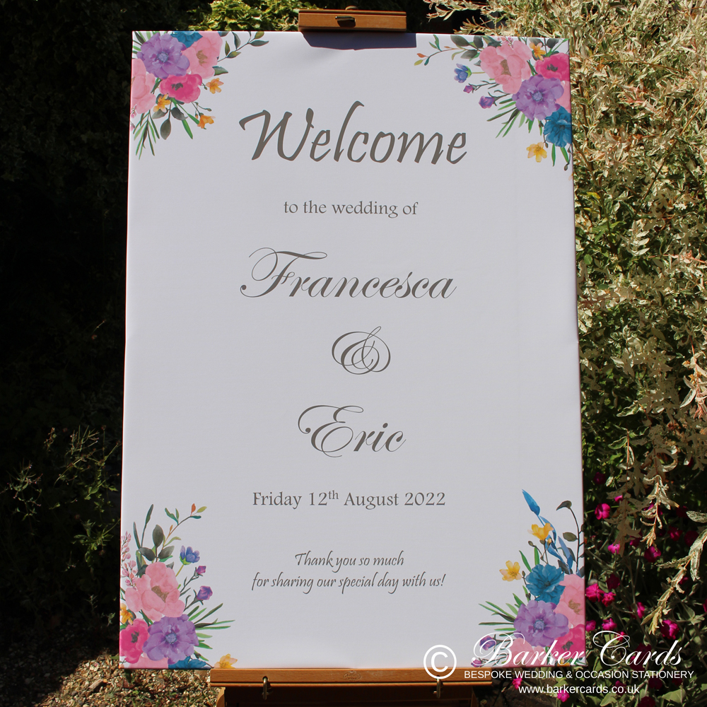 Wedding Welcome Sign - Canvas A1 - Floral Summer Design