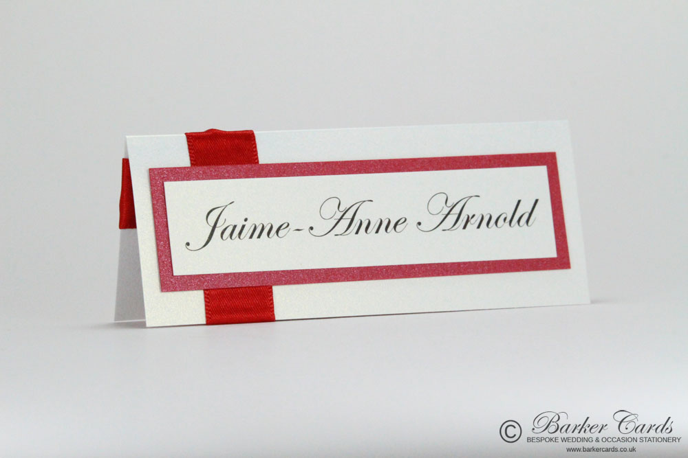 Wedding Place Cards - Christmas Red and White.