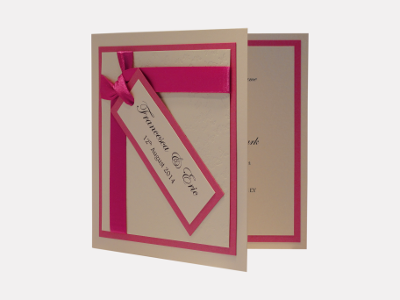 Wish Wedding Invitation Hot Pink / Bright Pink / Fuchsia Pink with Cream / Ivory and Butterflies
